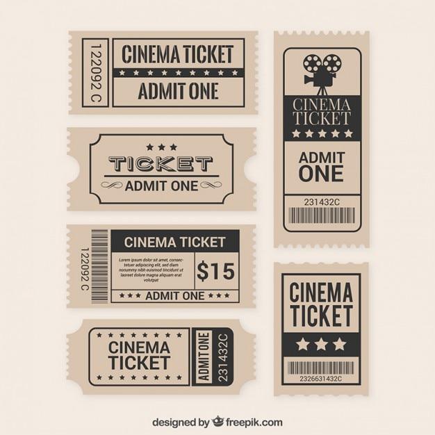 Raccolta del biglietto pellicola piatta Vettore Premium