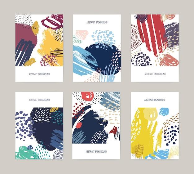 Modelli di volantini da collezione con macchie di vernice colorata brillante astratta, macchie, gocce, scarabocchi, pennellate su bianco Vettore Premium