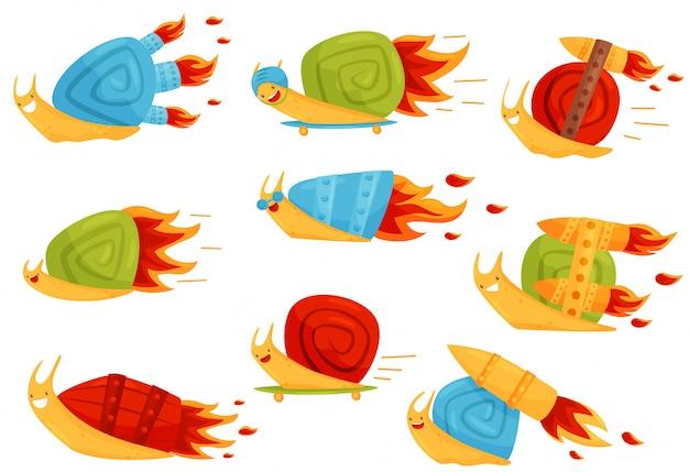 Raccolta delle lumache divertenti con i ripetitori di velocità di turbo, illustrazione veloce dei personaggi dei cartoni animati del mollusco su un fondo bianco Vettore Premium