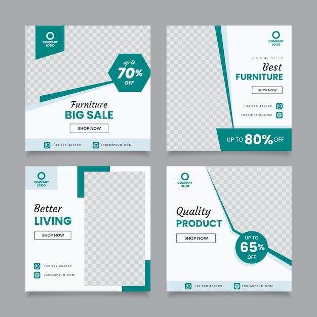 Raccolta di postazioni di vendita di mobili Vettore Premium