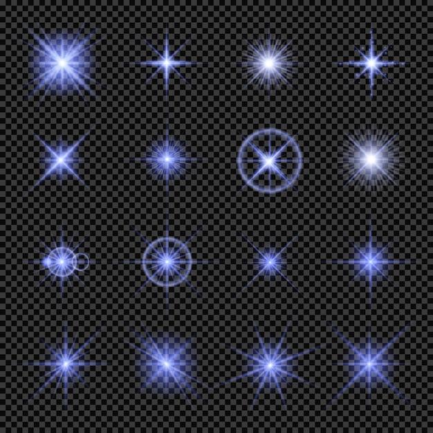 Raccolta di luci incandescenti in blu Vettore Premium