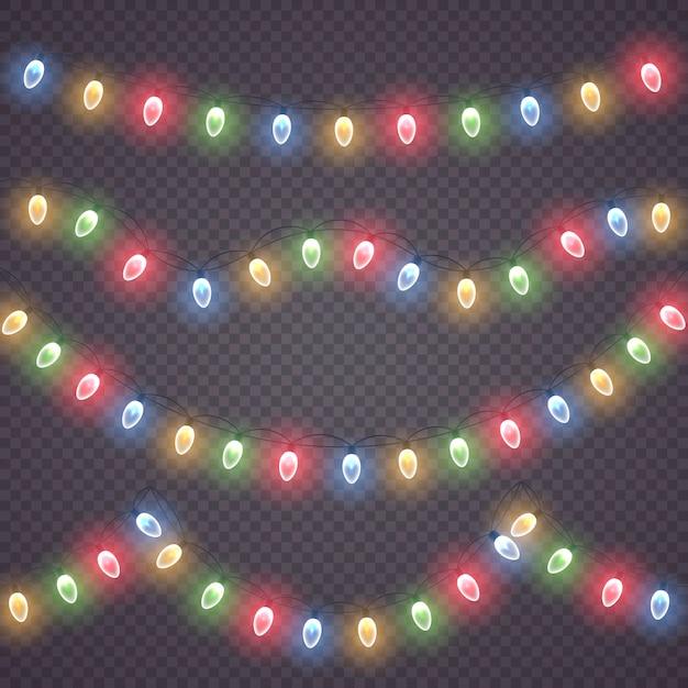 Collezione di luci incandescenti per le vacanze di natale Vettore Premium