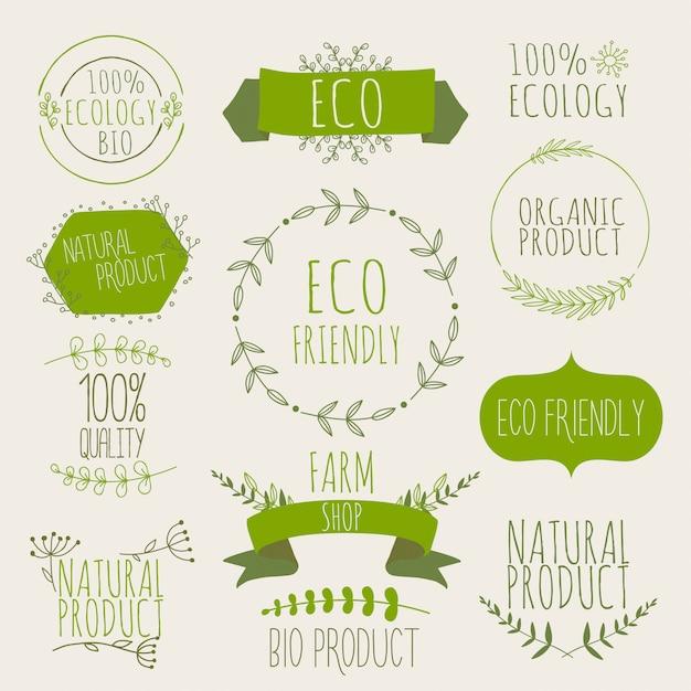 Collezione di etichette e badge verdi per prodotti biologici, naturali, biologici ed ecologici. colori vintage, verdi. Vettore Premium