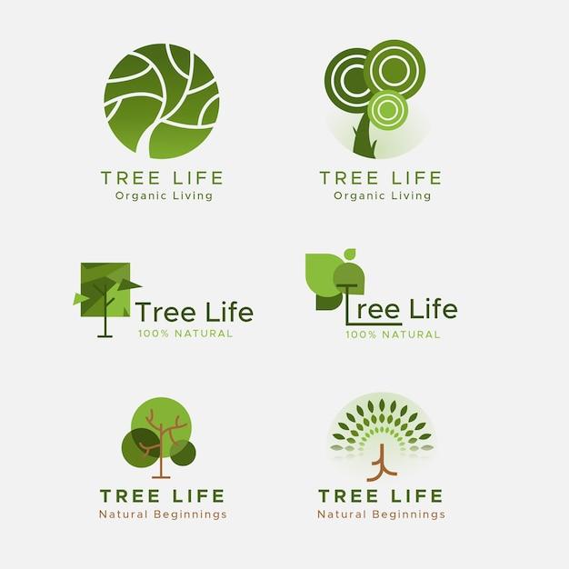 Collezione di logo vita albero verde Vettore Premium