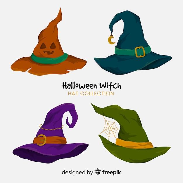 Collezione di cappelli da strega di halloween Vettore Premium