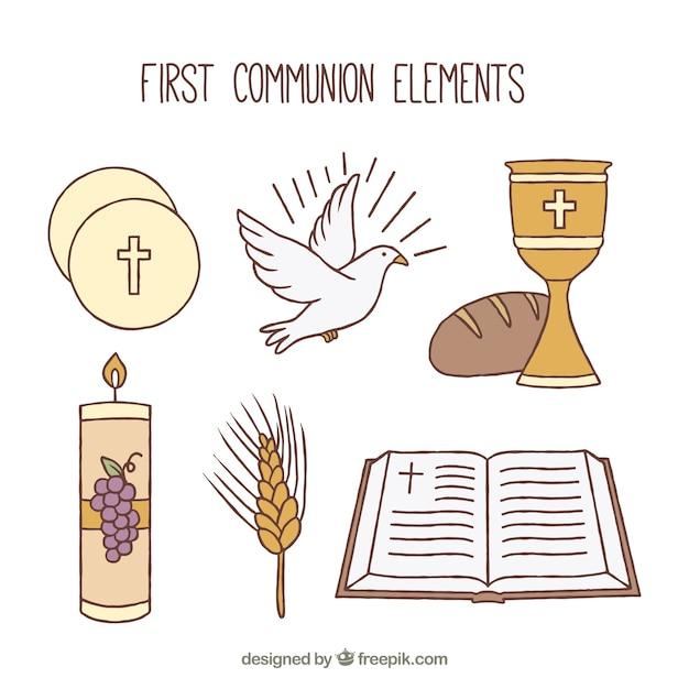 Collezione di oggetti religiosi disegnati a mano Vettore Premium
