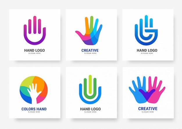 Collezione di modelli di logo a mano Vettore Premium