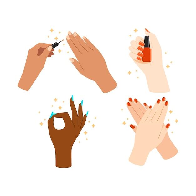 Raccolta di posizioni manicure illustrate Vettore Premium