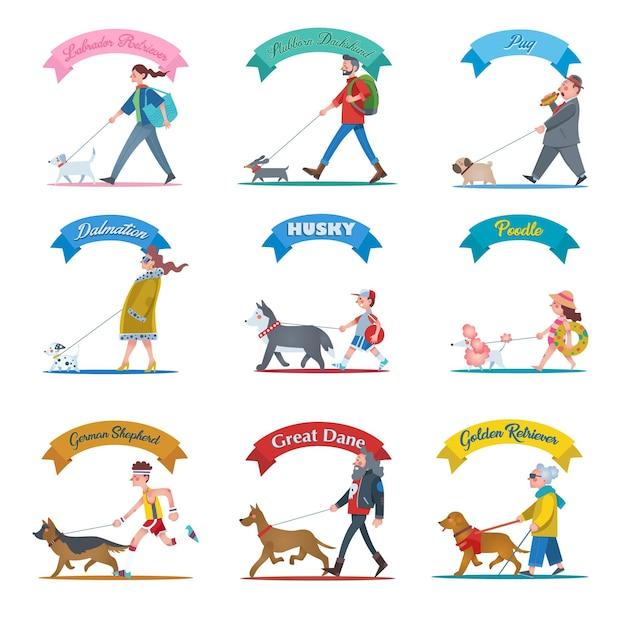 Una raccolta di illustrazioni di persone che camminano con i loro diversi tipi di cani Vettore Premium