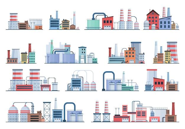 Collezione di edifici industriali Vettore Premium