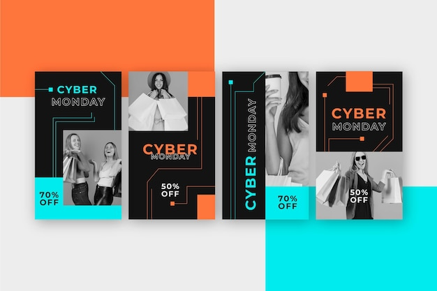 Raccolta di storie di instagram per l'evento del cyber lunedì Vettore Premium