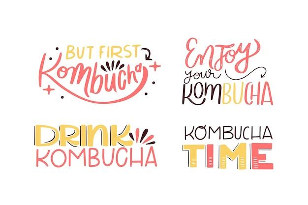 Raccolta di lettere di tè kombucha Vettore Premium
