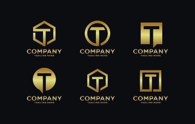 Raccolta di modelli di logo lettera t. Vettore Premium