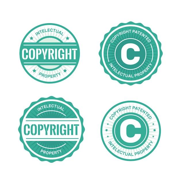 Collezione di timbri protetti da copyright Vettore Premium