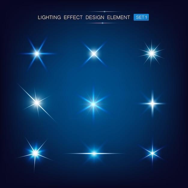 Raccolta di effetti di luce Vettore Premium