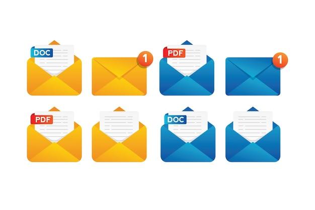 Raccolta di notifica del documento di posta con busta gialla e blu Vettore Premium