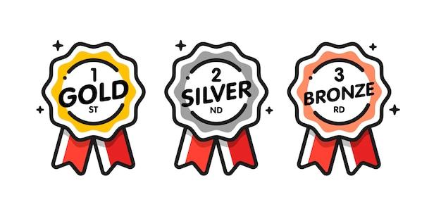 Collezione di medaglie disegnate a mano Vettore Premium