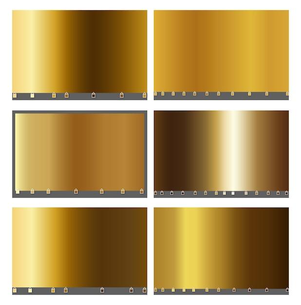 Raccolta di sfumature metalliche e oro Vettore Premium
