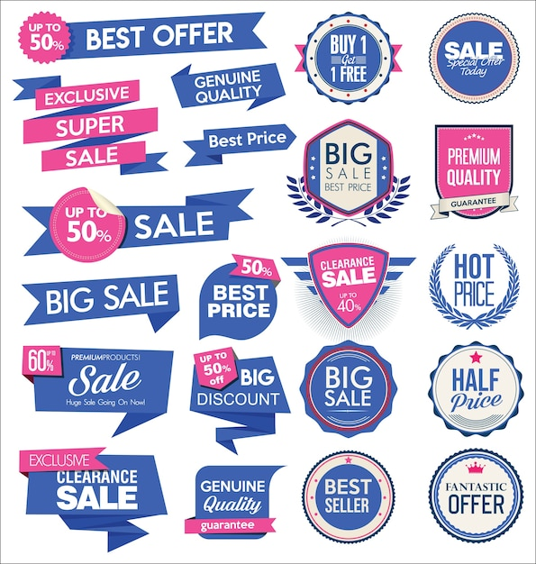 Collezione di adesivi e tag di vendita moderni Vettore Premium