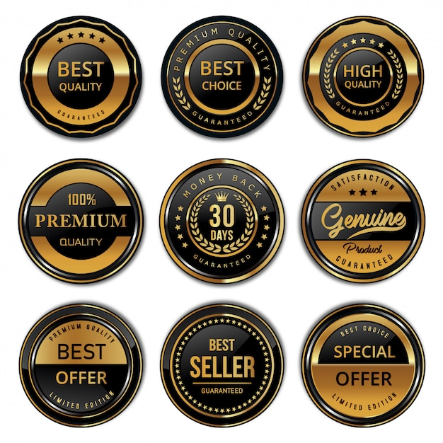 Collezione di badge e sigilli moderni di qualità del prodotto Vettore Premium