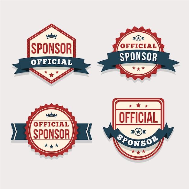 Collezione di badge sponsor moderni Vettore Premium