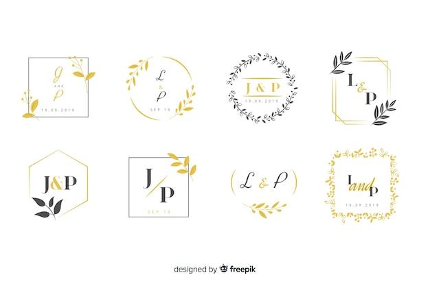 Collezione di loghi monogramma con foglie Vettore Premium