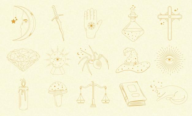 Collezione di oggetti mistici e astrologici, gatto, libro, candela, spada, palla magica, sole, ragno e altri, mani umane. Vettore Premium