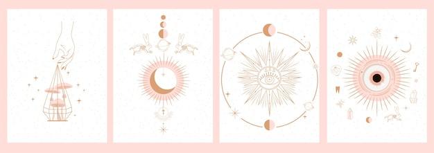 Raccolta di illustrazioni mistiche e misteriose in stile disegnato a mano. teschi, animali, spazio Vettore Premium