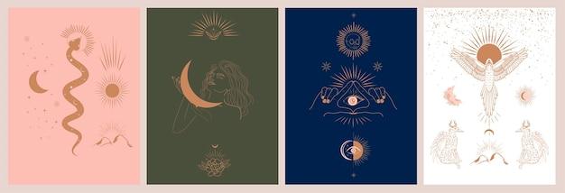 Raccolta di mitologia e illustrazioni mistiche in stile disegnato a mano. animali di fantasia, mitici Vettore Premium