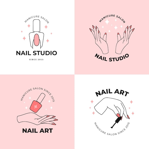 Collezione di loghi di nail art studio Vettore Premium