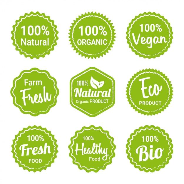 Collezione di etichette di prodotti biologici naturali Vettore Premium