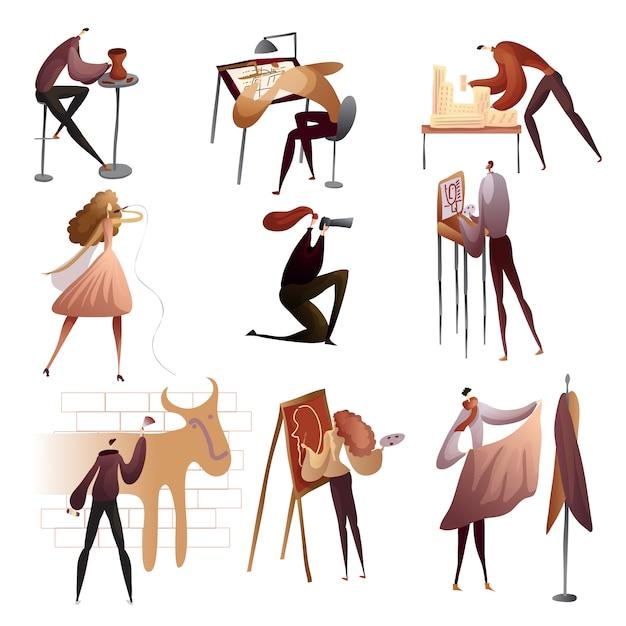 Raccolta di persone che si godono i loro hobby. illustrazione. Vettore Premium