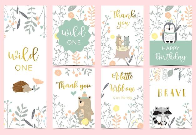 Collezione di carte boho rosa con orso, giungla, pinguino, riccio. Vettore Premium