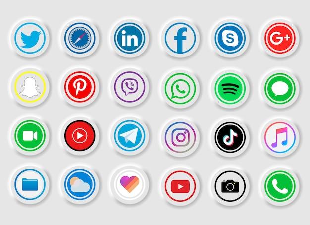 Raccolta di popolari icone social media su uno sfondo bianco Vettore Premium