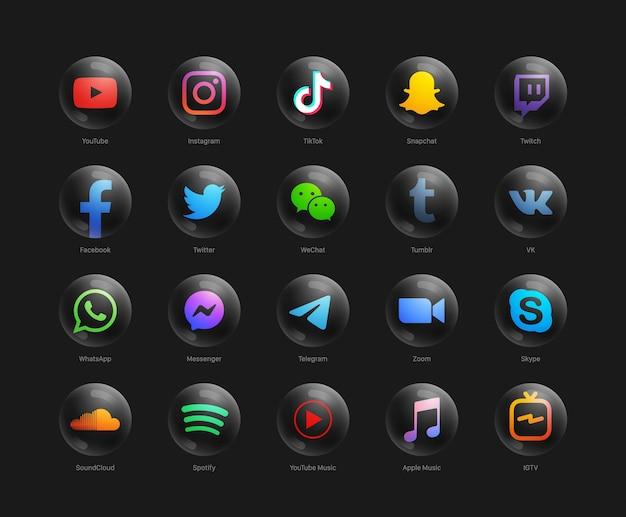 Raccolta di popolari social media network moderno rotondo nero web icone impostate Vettore Premium