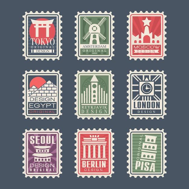 Collezione di francobolli, città del mondo, illustrazioni, francobolli di città con simboli Vettore Premium