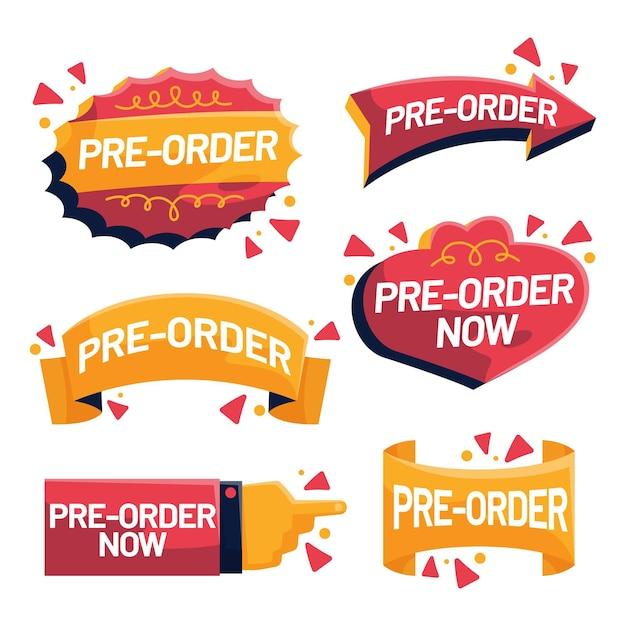Collezione di etichette pre-ordine in rosso e giallo Vettore Premium