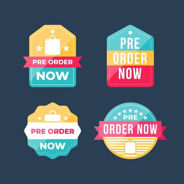 Raccolta di etichette pre-ordine con nastro Vettore Premium