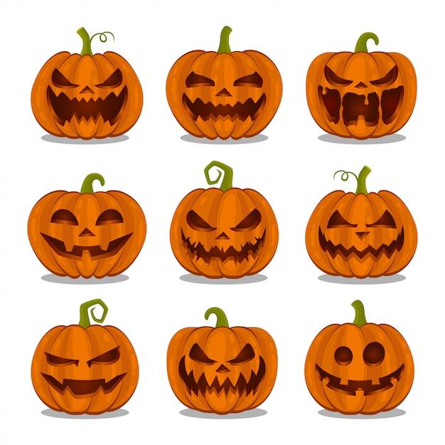Raccolta delle zucche halloween su fondo bianco Vettore Premium