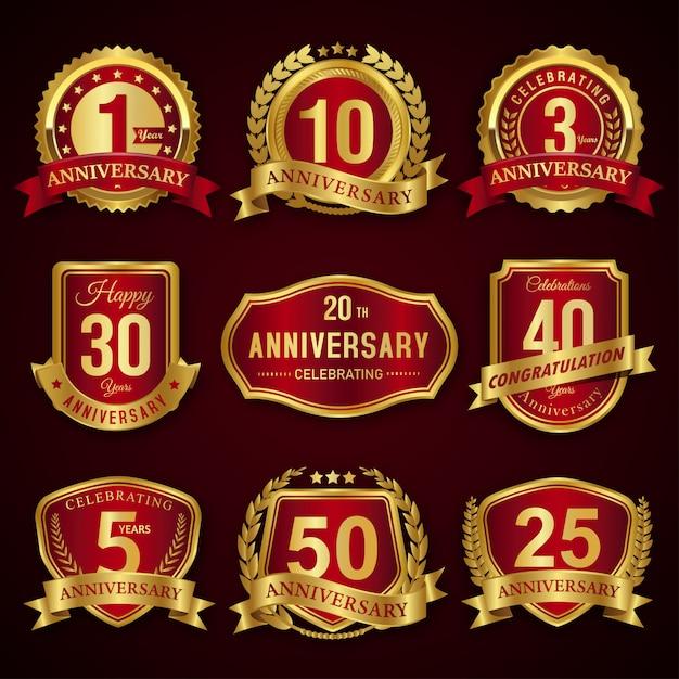 Collezione di etichette e distintivi sigillo anniversario rosso e oro anni Vettore Premium