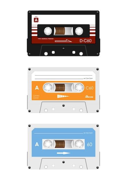 Collezione di cassette audio retrò. Vettore Premium