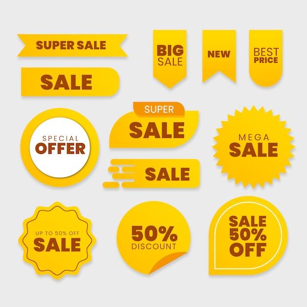 Collezione di etichette di vendita Vettore Premium