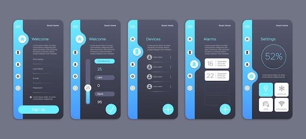 Raccolta di schermate per app smart home Vettore Premium
