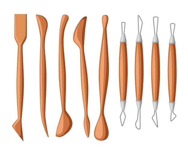 Collezione di strumenti di scultura. set di strumenti per modellare l'argilla. materiale in legno e metallo. illustrazione Vettore Premium
