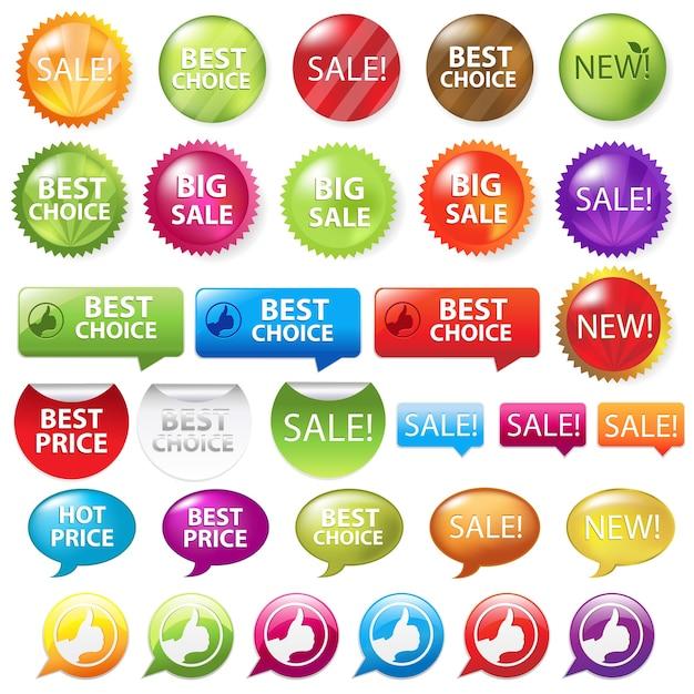 Collezione di distintivi di vendita, su sfondo bianco, illustrazione Vettore Premium