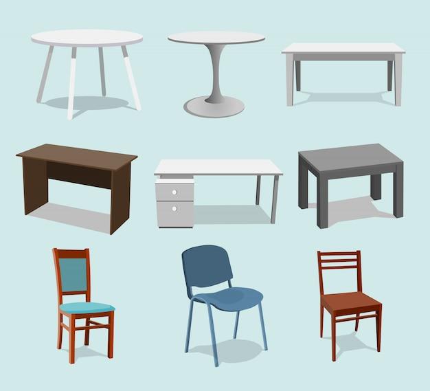 Collezione di tavoli Vettore Premium