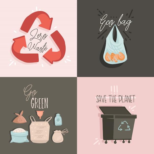 Raccolta impostata con zero waste e save planet illustrazioni e testo Vettore Premium