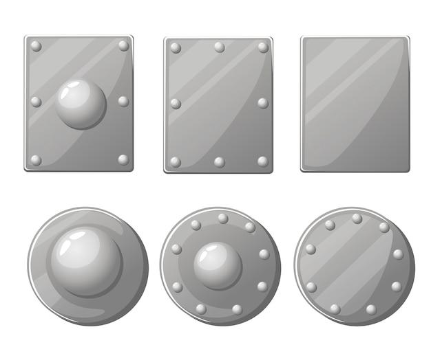 Collezione di scudi. scudo e scudo medievale in metallo. illustrazione su sfondo bianco Vettore Premium
