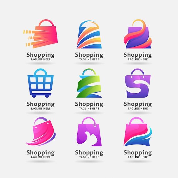Collezione di design del logo shopping bag Vettore Premium