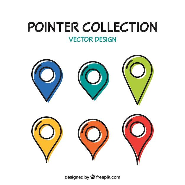 Raccolta di sei puntatori con colori diversi Vettore Premium